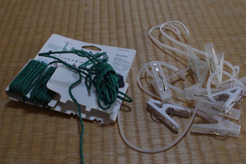 洗濯ロープと洗濯ばさみ